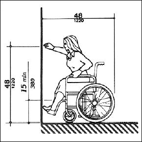 Diagram of an adult woman reaching from a forward position. Illustration shows a minimum reach of 15 inches off the floor and a maximum reach of 48 inches.